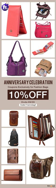 Anniversary Celebration, From US$8.99 + Free Shipping. Special Promotion Fashion Bags Sales.  All kinds of women's bags, men's bags, find all you need at Banggood.com. Special Coupon Code:11annvbag1. Come and Check it Out!