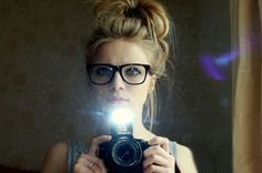 Messy Bun hairstyles for Women with Hipster Glasses Photos Images - New Hairstyles, Haircuts & Hair Color Ideas