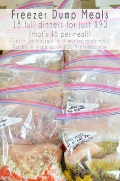 Freezer dump meals are such time savers that makes easy meals for the weeknights Freezer Meals Slow Cooker Freezer Meals, Make Ahead Freezer Meals, Crock Pot Freezer, Freezer Cooking, Crock Pot Cooking, Easy Meals, Dump Crockpot Meals, Cooking Tips, Meal Prep Freezer