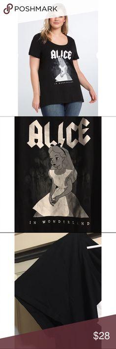 Alice in wonderland Tee shirt torrid This is a brand new, never worn Alice in wonderland plus size tee from torrid. Size 4x. Scoop neckline, all black! Super cute :-) torrid Tops Tees - Short Sleeve