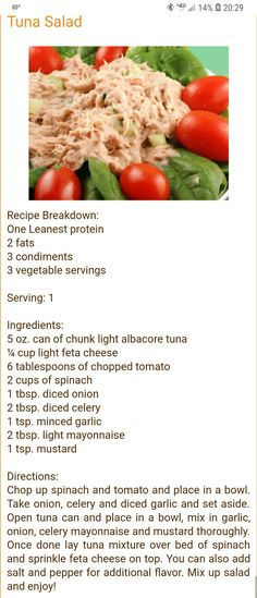 (notitle) – Lean and green meals – Tuna Fish Recipes Diet Salad Recipes, Medifast Recipes, New Recipes, Cooking Recipes, Healthy Recipes, Healthy Habits, Healthy Foods, Favorite Recipes, Lean Protein Meals