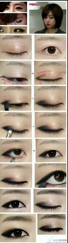 Korean MakeUp - Shop with Naughty-fox.com  Illusory double-lidded eye. Cool, but common. I want to see something that accentuates the single lid, for once.