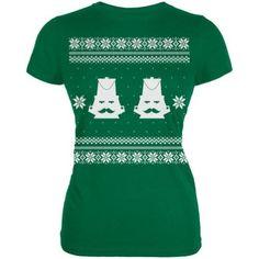 Nutcracker Ugly Christmas Sweater Green Juniors T-Shirt - Medium, Women's