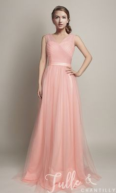 Hot V-Neckline Flowy Pleated Long Tulle Bridesmaid Dresses TBQP309 click for 40+ colors