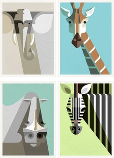 African Elephant, Giraffe, White Rhinoceros and Zebra portraits - Josh Brill | Design.org