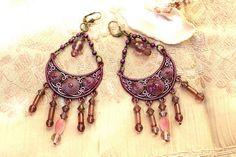 Oriental earrings indian gypsy bohemian in purple by MesOdalisques