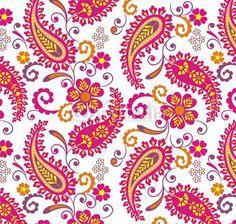 Papier peint traditionnelle motif paisley floral, textile, rajasthan, inde - indien • PIXERS.fr