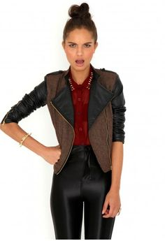 Lester Tweed & Leather Contrast Jacket-jackets-missguided    #MGwinterwardrobe