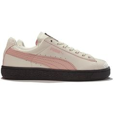 Puma Basket Valentine 'Hers' ($120) ❤ liked on Polyvore featuring shoes, sneakers, striped shoes, striped sneakers, low profile sneakers, low top and leather upper shoes