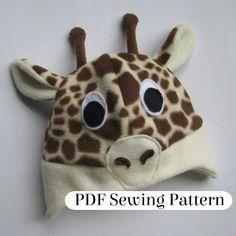 Giraffe Hat Pattern PDF Sewing Pattern Fleece by LambkinCreative