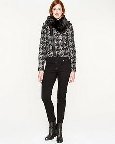 Houndstooth Wool Blend Jacket - A faux-fur trim brings a luxe detail to a houndstooth wool blend jacket. Houndstooth Jacket, European Fashion, Jacket Style, Fur Trim, Wool Blend, Faux Fur, Black Jeans, Normcore, Black And White