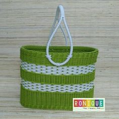 Travelling Basket   Material: Synthetic Rattan   Colour: Green   Stock: available   Price: IDR 200,000   #syntheticrattan #indonesianhandycraft #wicker #unique #creative #handicrafts #handmade #indonesia #rotansintetis #wadahunikrotan #produkukmindonesia #unik #Ronique_Indonesia