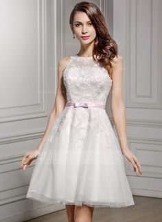 A-Line/Princess Scoop Neck Knee-Length Lace Wedding Dress With Sash Bow(s) (002056489) - JJsHouse