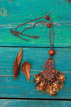 Foxy red pendant with autumn leaves  Big pendant  by FableBubble