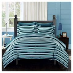 Rianne Striped Printed Reversible Comforter Set 7 Piece (Queen) Blue - Chic Home Design