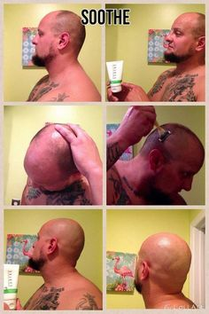 "For all men who shave their heads... This is fellow consultant, Justin Messingham's results: He said ""Ok so ive been telling people ive only been shaving my head with Rodan and Fields Soothe wash and a dry razor. No foams no shave gels no creams no lubricated blades. Most people said ""yea right"" so heres a picture collage to prove my point lol. Super smooth and not 1 bump or red burn mark. Used Soothe 2 after and good to go!!"" Makes a great gift. https://jross5.myrandf.com"