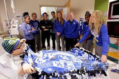 UK athletes make blankets for young patients.
