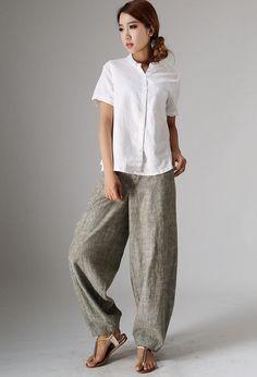 Linen slacks Linen Pants linen baggy pants linen pants | Etsy Linen Pants Women, Pants For Women, Baggy Pants, Style Casual, Casual Belt, White Linen Shirt, Summer Pants, Fashion Outfits, Etsy