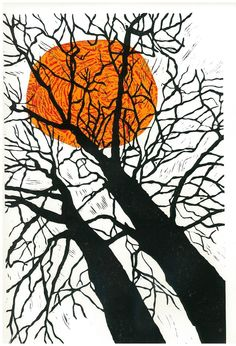 Elongated view up the trunks of two wintery trees. If you look closely at this print there is a tiger's face in the sun. Artist: Margaret Rankin
