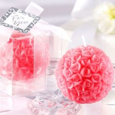 Pink Rose Ball Candle Wedding Favor - Party City