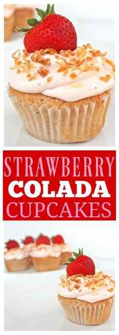 Strawberry Colada Cupcakes - the-girl-who-ate-everything.com