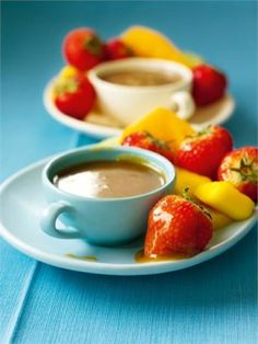 Butterscotch Fruit Fondue: If ever you've - lazily, guiltily - bought ready-peeled, sliced, cubed fruit from the supermarket, and then wondered why you bothered, when you get home to discover the fruit is brightly hued but dimly flavoured, this is the solution. Anything, frankly, dunked into butterscotch sauce tastes good, and this is a fabulous everyday or even party pudding.
