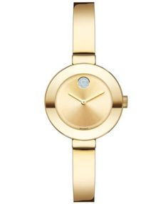 Movado Women's Swiss Bold Gold Ion-Plated Stainless Steel Bangle Bracelet Watch 25mm 3600285