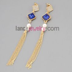 Elegant earrings with zinc alloy  decorated rhinestone and blue crystal and abs beads and chain pendant