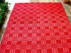 Red White Checks...Vintage Woven Twin Kilim Bedspread Wool Cotton Red White Plaid by VintageHomeStories