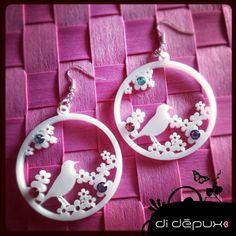 Bird and daisies acrylic laser cut swarovski earrings