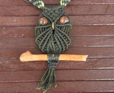 Macrame owl necklace boho jewelry/micro macrame by macramEll