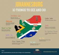 [Infographic] Johannesburg travel guide. 10 places for tourists to see and do. http://www.rhinoshuttles.co.za #southafrica #johannesburg #infographic