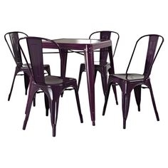 5-piece steel dining set inspired by vintage French bistros.   Product: 4 Dining chairs and dining tableConstructio...
