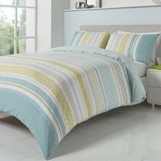 Just Contempo Striped Duvet Cover Set, King, Duck Egg: Amazon.co.uk: Kitchen & Home