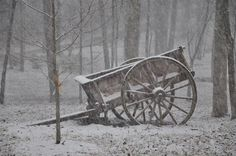 Blairsville, GA : Old Wagon in the winter snow~
