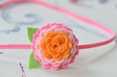 Felt Flower Headband .  Button Flower .  Elastic Headband With Wool Blend Felt  Flower In Orange Soft Pink and Barbie Brights