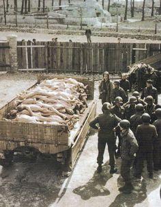 El avance aliado pondrá a descubierto los campos de exterminio. En la foto soldados americanos miran atónitos los muertos que la SS no ha tenido tiempo de incinerar antes de su fuga en Buchenwald.