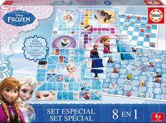 Belle boite de 8 jeux de société différents pour jouer avec La Reine des Neiges. #coffret #reinedesneige #jeu #jeudesociété