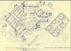Addams Family Home Floor Plan, along with a bunch of other TV show fantasy floor plans. By Mark Bennett