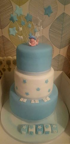 3 tier simple Christening cake for a boy.