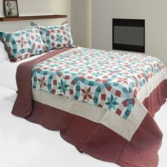 [Falling?Snow] 3PC Cotton Vermicelli-Quilted Printed Quilt Set (Full/Queen Size)