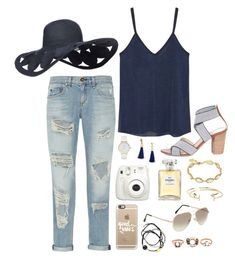 """""""navy + ripped jeans"""" by classycathleen ❤ liked on Polyvore featuring MANGO, rag & bone, Sole Society, Kate Spade, BaubleBar, Fujifilm, Chanel, Casetify, Kendra Scott and Aéropostale"""