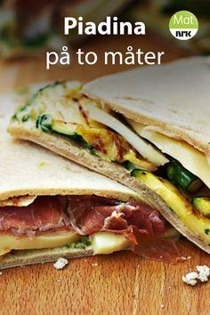 Piadina på to måter Tapas, Sandwiches, Food And Drink, Baking, Eggplant, Bakken, Paninis, Backen, Sweets