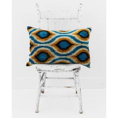 "16"" x 24"" silk velvet ikat pillow, peacock blue ($179) ❤ liked on Polyvore featuring home, home decor, throw pillows, ikat throw pillows, textured throw pillows, peacock blue home decor, peacock blue throw pillows and ikat home decor"