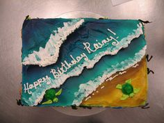 Ocean Cake 3 by JNFerrigno on DeviantArt - cakes - Cake Design Ocean Birthday Cakes, Ocean Cakes, Birthday Sheet Cakes, Themed Birthday Cakes, Turtle Birthday, Birthday Boys, Beach Themed Cakes, Beach Cakes, Surfer Cake