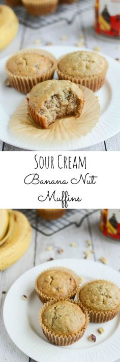 Sour Cream Banana Nut Muffins - soft and delicious muffins!