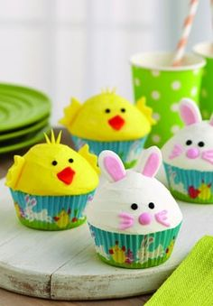 Easter Dessert Ideas - Easter Chick and Bunny Cupcakes from Joann.com