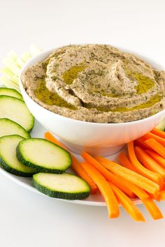 Baba ganoush is a vegan Middle Eastern starter or appetizer made of eggplant, tahini and other super healthy ingredients. Serve with some crudités.