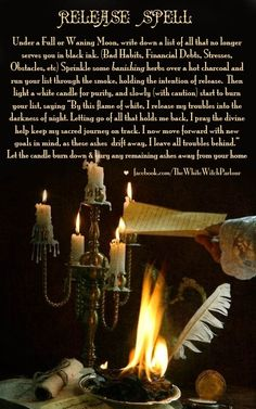 release, full, waning, moon, magic, magick, spell, witch, banish, prayer, chant, herb, candle, witch, wicca #whitewitchparlour https://www.facebook.com/TheWhiteWitchParlour