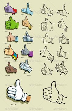 Thumbs Up Hand Illustration  #GraphicRiver         Thumbs up various hands in color and black. Good use for your social media icon, web site, symbol, logo, or any design you want. Easy to use or edit.  	 ZIP included : AI CS, EPS8, CDR coreldraw (vector files = can use any size you want without loss resolution), JPEG high resolution, PNG transparent, and PSD photoshop file.  	 Alternative Keywords : Halloween, event, like, social media, design illustration, graphic, sketches, imagination…